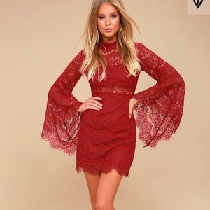 Lulu's wine red lace bell sleeve dress